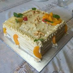Pepo pumpkin and dandy peaches gateau