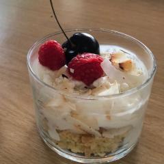 Crunchy Coconut Ice Cream, Lemon Madeira Cake and Raspberry Cups