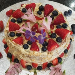 Mila's Berrylicious Explosion Cake with Cream Cheese Icing