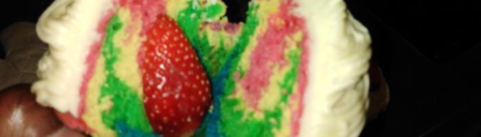 Rainbow Strawberry Cupcakes