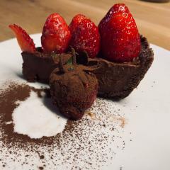 Dark Chocolate and Strawberry Truffle Tart