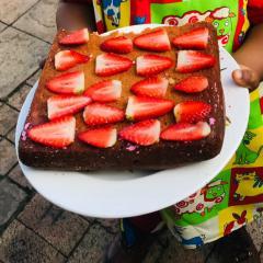 Sweet strawberry sponge cake