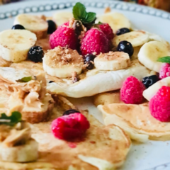 Avas fruity tutti party on a pancake